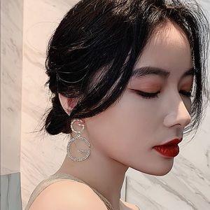 New Letter G For Women Crystal Big Dangle Earrings